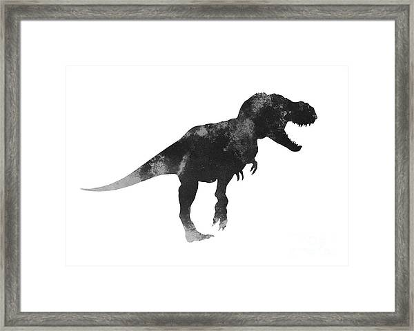 Tyrannosaurus Figurine Watercolor Painting Framed Print