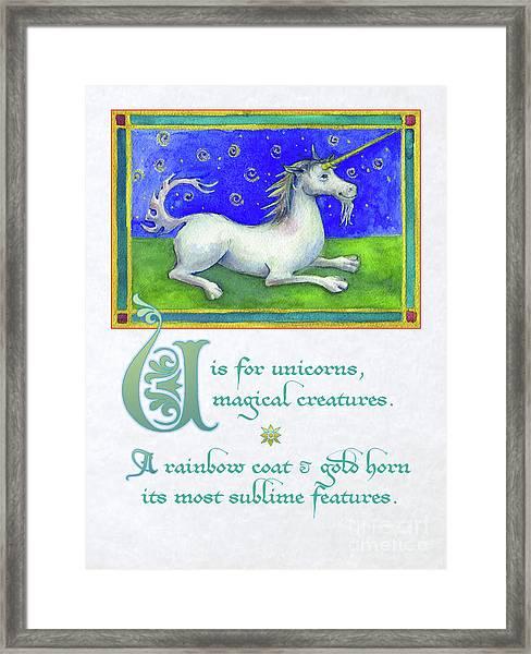 U Is For Unicorn Framed Print