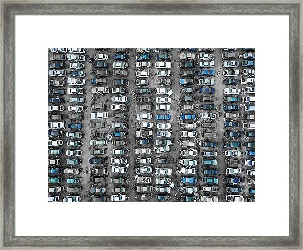 U-pull-and-pay Blue Framed Print