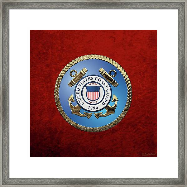 U. S. Coast Guard - U S C G Emblem Framed Print