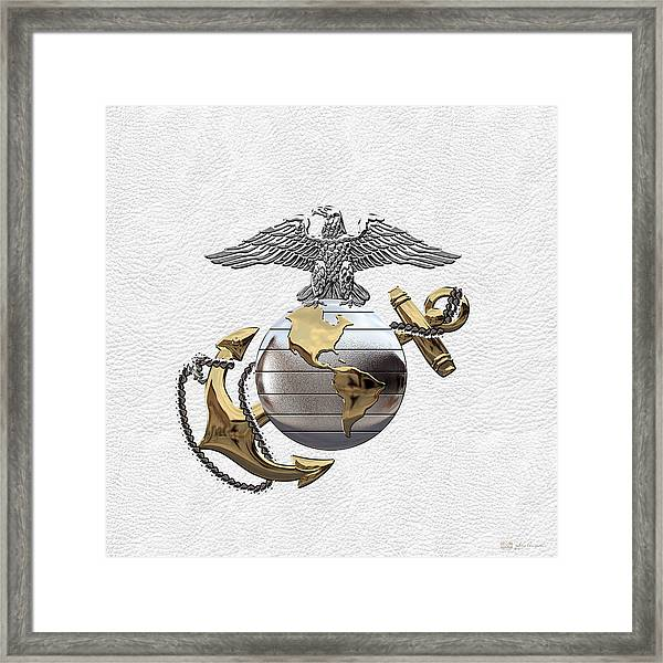 U S M C Eagle Globe And Anchor - C O And Warrant Officer E G A Over White Leather Framed Print