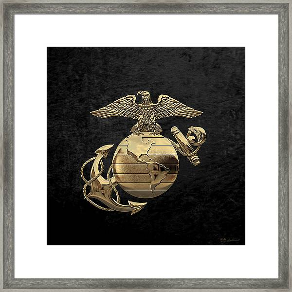 U S M C Eagle Globe And Anchor - N C O And Enlisted E G A Over Black Velvet Framed Print