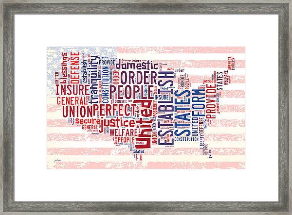 U S Map Preamble Word Cloud4 Framed Print