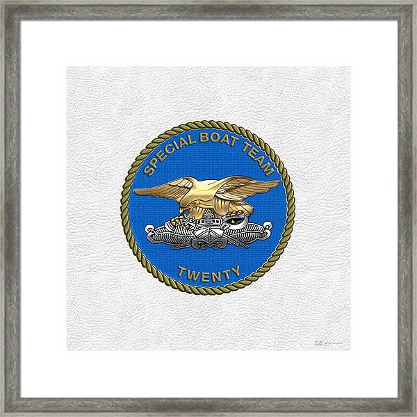 U. S. Navy S W C C - Special Boat Team 20   -  S B T 20   Patch Over White Leather Framed Print
