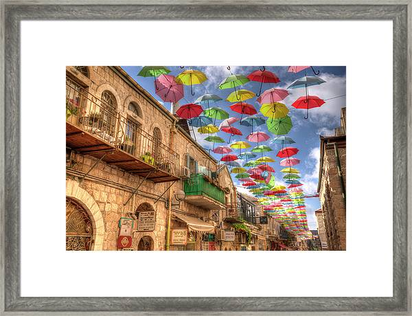 Umbrellas Over Jerusalem Framed Print