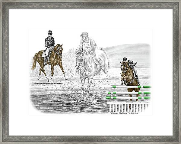Ultimate Challenge - Horse Eventing Print Color Tinted Framed Print