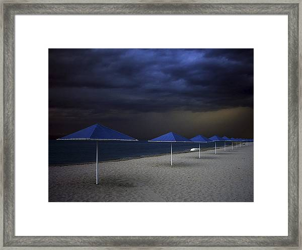 Umbrella Blues Framed Print by Aydin Aksoy