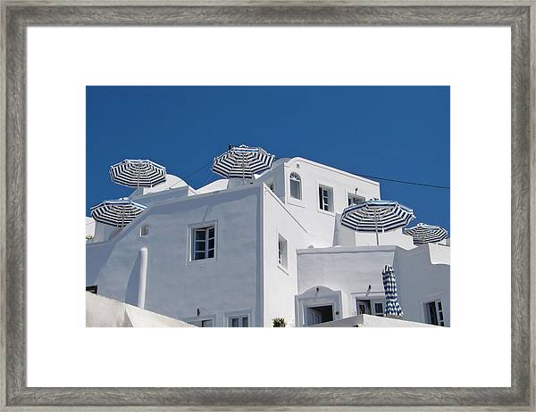 Umbrellas - Santorini, Greece Framed Print