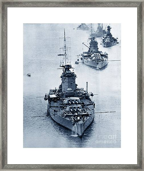 Hms Nelson And Hms Rodney Battleships And Battlecruisers Hms Hood Circa 1941 Framed Print