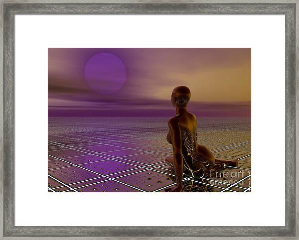 Framed Print featuring the digital art Under A Purple Moon by Sandra Bauser Digital Art