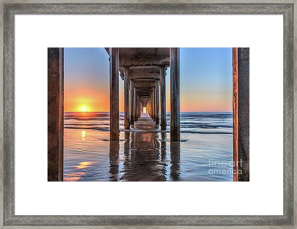 Under Scripps Pier At Sunset Framed Print