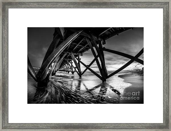 Under Sea Cabin Pier At Sunset Framed Print