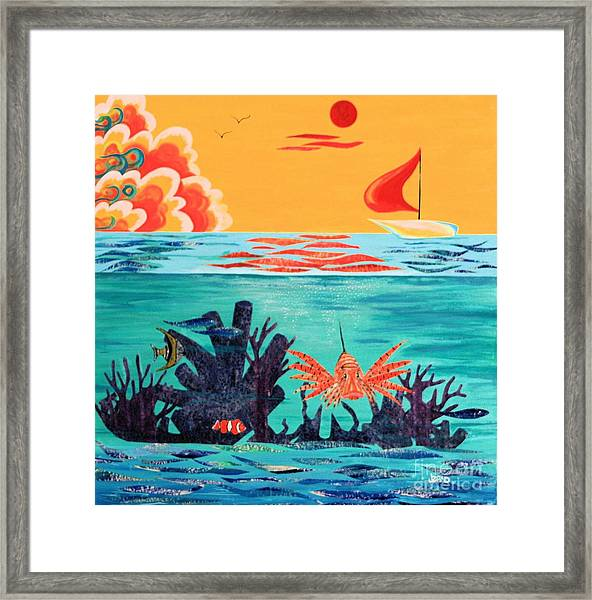Bright Coral Reef Framed Print