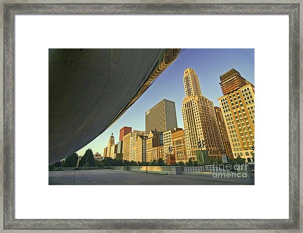 Under The Bean And Chicago Skyline Framed Print