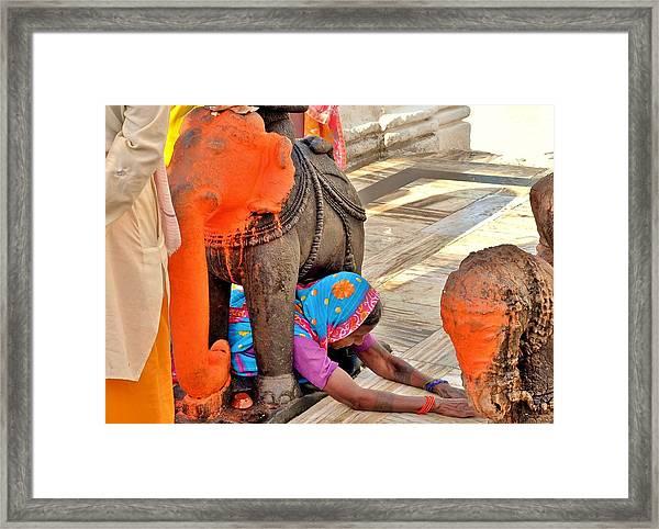 Under The Elephant - Narmada Temple At Arkantak India Framed Print