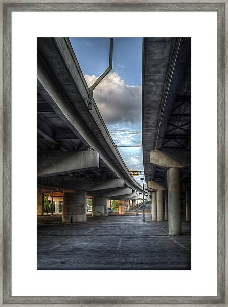 Framed Print featuring the photograph Under The Overpass II by Break The Silhouette
