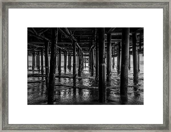 Under The Pier - Black And White Framed Print