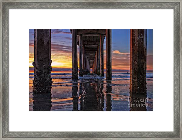 Under The Scripps Pier Framed Print