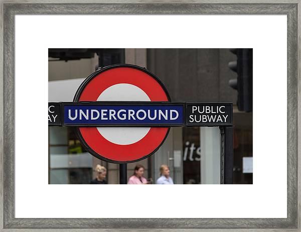 Underground Sign London Framed Print
