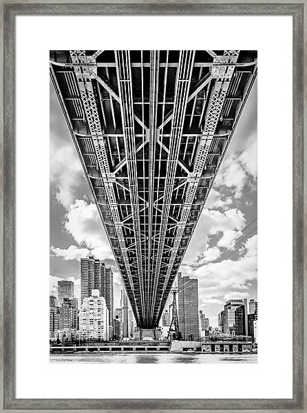 Framed Print featuring the photograph Underneath The Queensboro Bridge by Susan Candelario