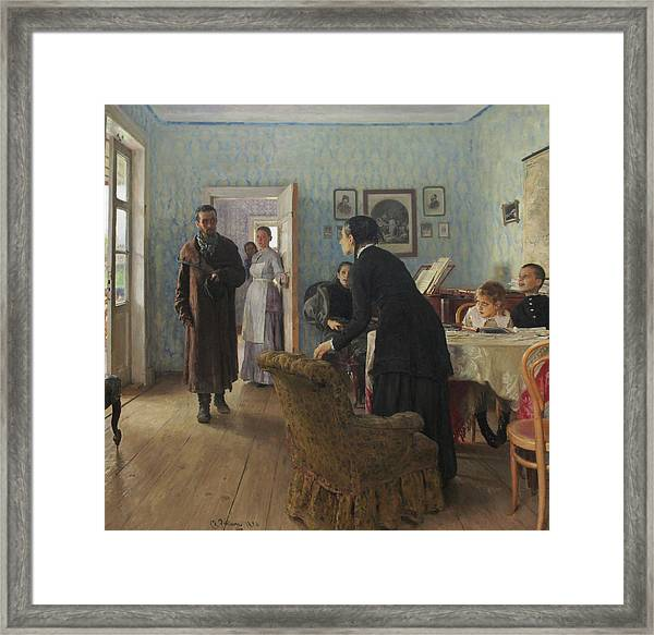 Unexpected Visitors Framed Print by Ilya Repin