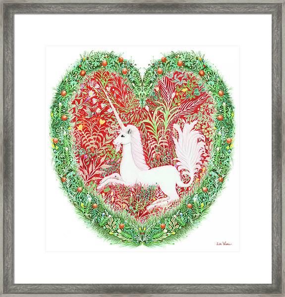 Unicorn Heart With Millefleurs Framed Print