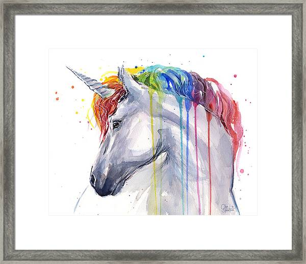 Unicorn Rainbow Watercolor Framed Print
