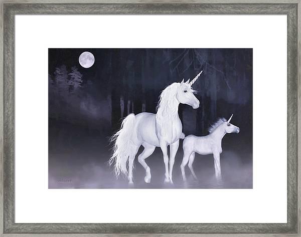 Unicorns In The Mist Framed Print