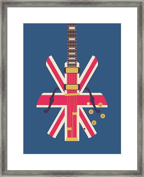 Union Jack Guitar - Original Blue Framed Print