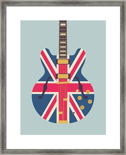 Union Jack Guitar - Original Grey Framed Print