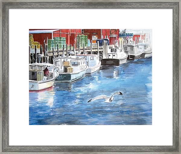 Framed Print featuring the painting Union Wharf by Dominic White