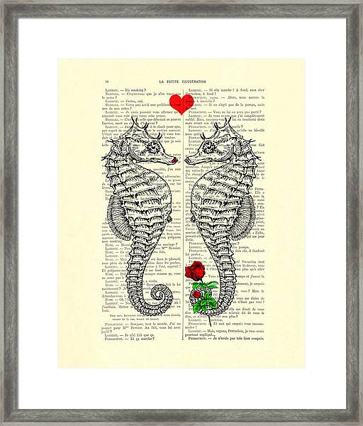Unique Valentines Day Gift Ideas, Seahorses Framed Print