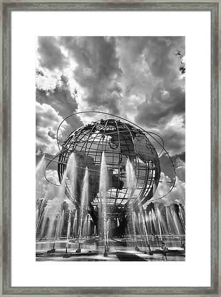 Unisphere And Fountains Flushing Meadow Park Nyc Framed Print
