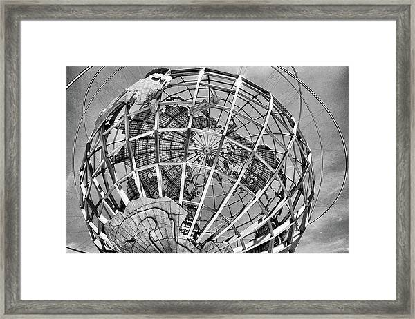Unisphere In Black And White Framed Print
