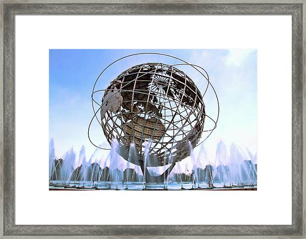 Framed Print featuring the photograph Unisphere With Fountains by Bob Slitzan
