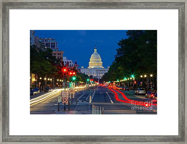 United States Capitol Along Pennsylvania Avenue In Washington, D.c.   Framed Print