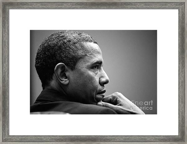 United States President Barack Obama Bw Framed Print