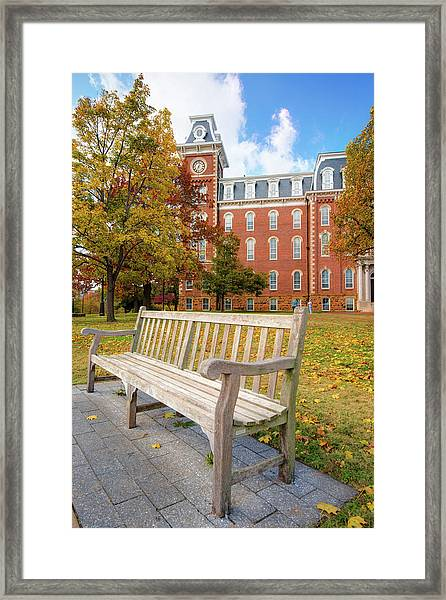 University Of Arkansas Campus In Fall - Old Main Building Framed Print