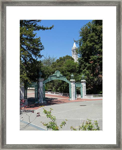 University Of California At Berkeley Sproul Plaza Sather Gate And Sather Tower Campanile Dsc6262 Framed Print