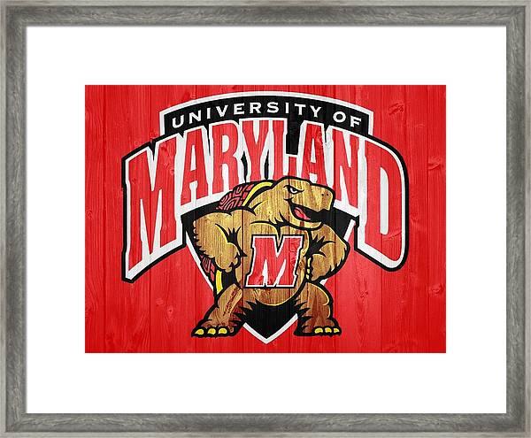 University Of Maryland Barn Door Framed Print