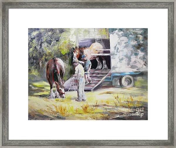 Unloading The Clydesdales Framed Print