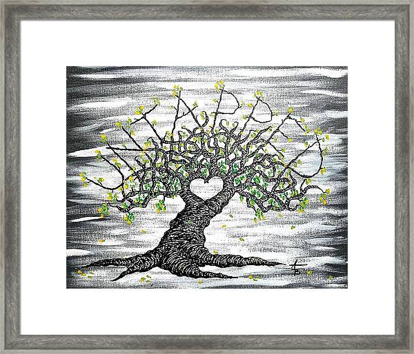 Framed Print featuring the drawing Untapped Love Tree by Aaron Bombalicki
