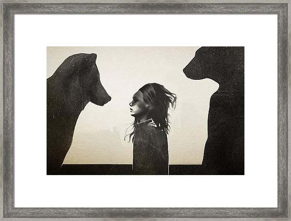Unusual Encounter Framed Print