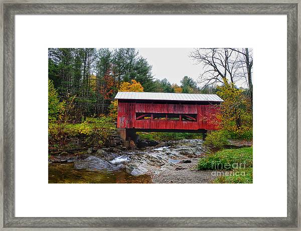 Upper Cox Brook Covered Bridge In Northfield Vermont Framed Print