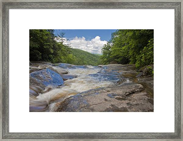 Upper Creek Waterfalls Framed Print
