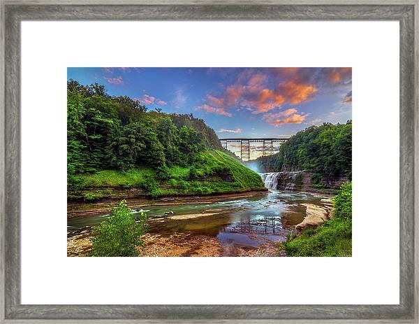 Upper Falls At Sunset Framed Print