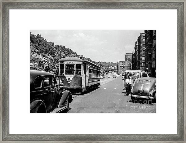 Uptown Trolley Near 193rd Street Framed Print