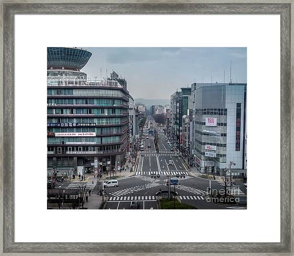 Urban Avenue, Kyoto Japan Framed Print