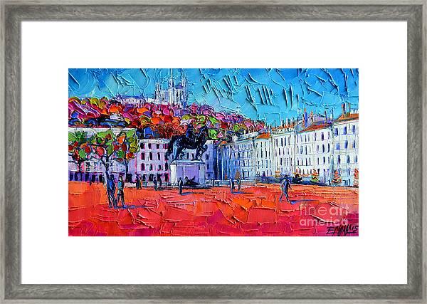 Urban Impression - Bellecour Square In Lyon France Framed Print