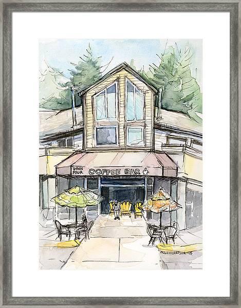 Coffee Shop Watercolor Sketch Framed Print